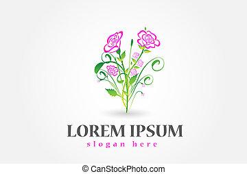 buquet, rosas, vetorial, desenho