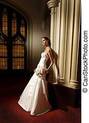 buquet, segurando, noiva, moda