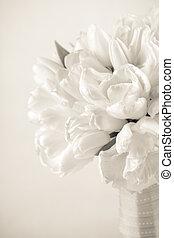 buquet, toned, sepia, tulipa
