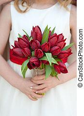 buquet, tulipa, vermelho, casório