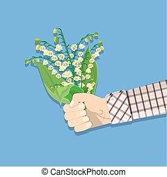 buquet, vale, lírio, segurando mão