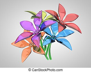 buquet, vidro, flores, coloridos