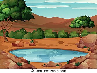 buraco água, cena, chão