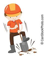 buraco, chão, cavando, homem