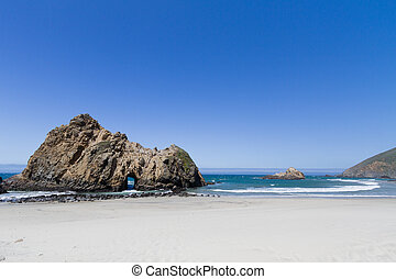 buraco fechadura, arco, pfeiffer, praia, sur grande, califórnia