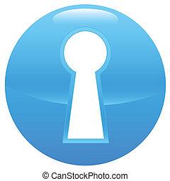 buraco fechadura, azul, ícone