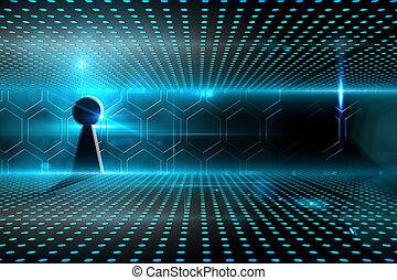 buraco fechadura, glowing, tecnológico, fundo