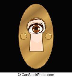 buraco fechadura, olho, espião