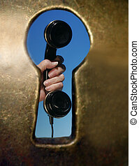 buraco fechadura, telefone