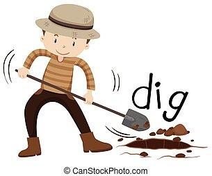 buraco, pá, cavando, homem