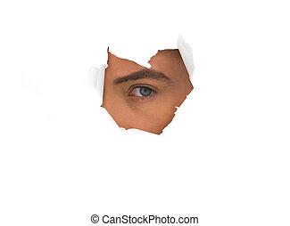 buraco, papel, olho, homem