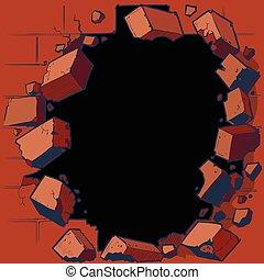 buraco, quebrar, parede vermelha tijolo