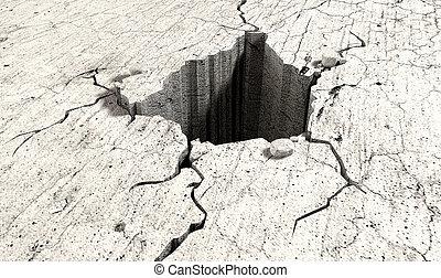 buraco, rachado, perspectiva, chão