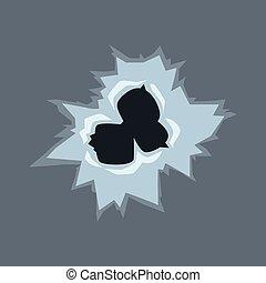 buracos bala, ilustração, vidro, vetorial, fundo, transparente