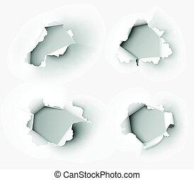 buracos, rasgado, em, papel, branco