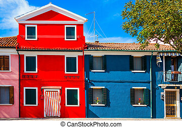 Facade of a lovely multi-colored house