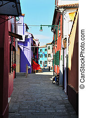 Burano island in the Venetian Lagoon, Italy - BURANO, ITA -...