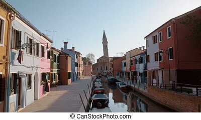 Burano island scene with Leaning Bell Tower, Italy - Quiet...