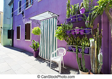 Burano island, Venice, Italy - Picturesque windows with...