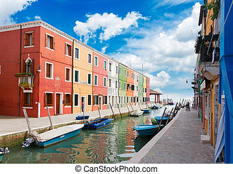 burano, italia, isla, venecia