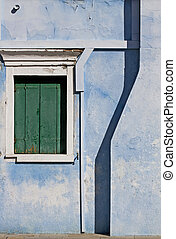Burano, Venice lagoon :detail of a painted house