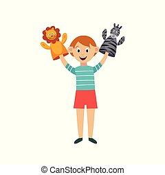 burattini, isolated., mani, appartamento, illustrazione, puppet-show, compie, bambino, vettore