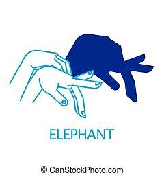 burattino ombra, elephant., mano