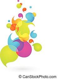 burbuja, 2, -, colorido, plano de fondo