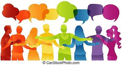 burbuja, amistad, colores, gente, multitud, arco irirs, ...