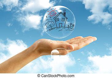 burbuja, cielo, plano de fondo, inmobiliario