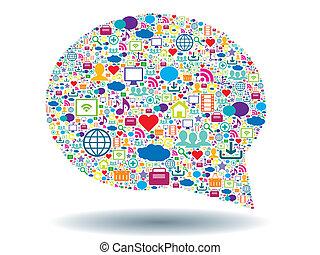 burbuja, de, comunicación