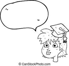 burbuja del discurso, caricatura, graduado, mujer