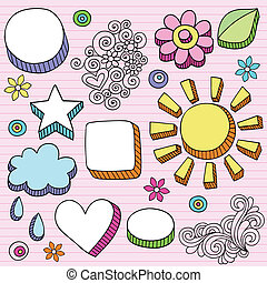 burbuja del discurso, formas, vector, doodles