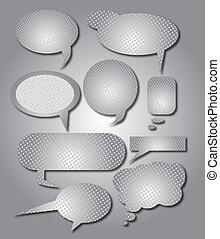 burbuja del discurso, metálico