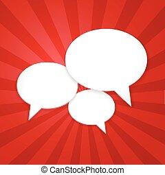 burbuja del discurso, plano de fondo, con, sunburst., vector, ilustración