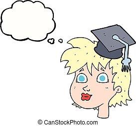 burbuja del pensamiento, caricatura, graduado, mujer