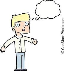 burbuja del pensamiento, caricatura, sorprendido, hombre
