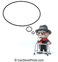 burbuja del pensamiento, hombre, viejo, 3d