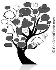 burbuja, discurso, árbol, negro
