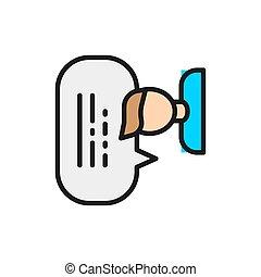 burbuja, hombre, discurso, línea, color, icon., reacción,...