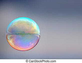 burbuja jabón, en, fondo gris