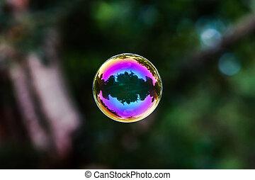 burbuja jabón, vuelo