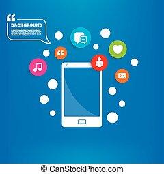burbuja, medios, icons., discurso, charla, social, mail.