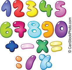 burbuja, números, 3d