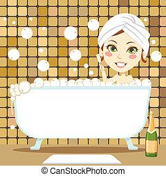 burbuja, relajante, baño