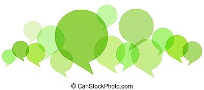 burbujas, coloreado, discurso, fila
