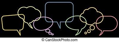 burbujas, coloreado, fila, discurso