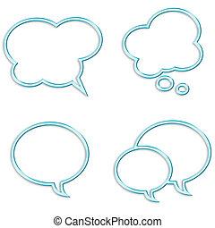 burbujas, conjunto, discurso, fondo blanco