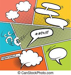 burbujas, discurso, cómico, retro