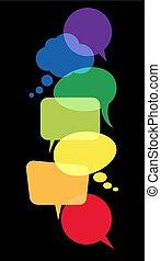 burbujas, discurso, coloreado, fila